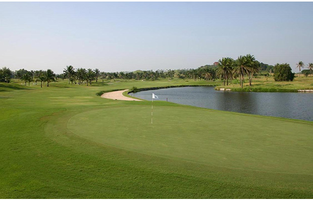 looking back from green at khao kheow country club, pattaya, thailand