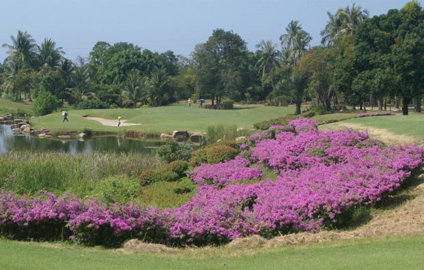 view over flowers to green at mountain shadow golf club, pattaya, thailand
