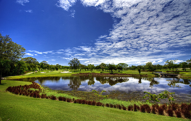 view over lake, siam country club old course, pattaya, thailand