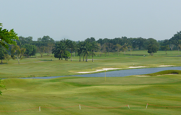 view across water, greenwood golf club, pattaya, thailand