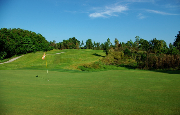 back from green, emerald golf club, pattaya, thailand